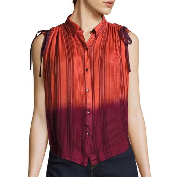 541478cfcb657 Free People Orange Striped Ombre Blouse Shirt XS. NWT